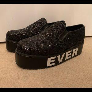 TUK black sparkle platforms loafers wedges